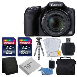 Canon PowerShot SX530 HS Digital Camera with 50x Optical Image Stabilized Zoom with 3-Inch LCD HD 1080p Video (Black)+ Extra Battery + 24GB Class 10 Cards Complete Deluxe Accessory Bundle And Much More