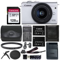 Canon EOS M200 Mirrorless Digital Camera with 15-45mm Lens (White) Deluxe Bundle