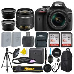 Nikon D3400 DSLR Camera + AF-P 18-55mm 3 Lens + 64GB + More Great Value Bundle