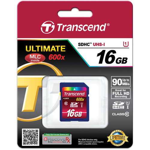 Transcend 16GB SDHC Ultimate 600x Class 10 UHS-I Memory Card
