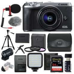 Canon EOS M6 Mark II Mirrorless Digital Camera with 15-45mm Lens + Top Value Kit