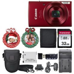 Canon PowerShot ELPH 190 Digital Camera (Red) Top Value Holiday Accessory Bundle