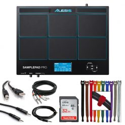 Alesis SamplePad Pro | 8-Pad Percussion and Sample-Triggering Instrument + Cables + Cable Strap + 32GB Flash Memory Card