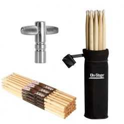 On Stage 12 Pair Maple Wood 5B Drum Sticks with Wood Tip + Drum Stick Holder + Drum Key