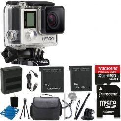 GoPro HERO4 SILVER Edition Camera HD Waterproof Camcorder With Built-In Touch Screen With 2 Replacement Lithium Ion Batteries + Dual Battery Charger + Deluxe Carrying Case + Tripod Gripster + Monopod +HDMI to Micro-HDMI + 32GB SDHC MicroSD Memory Card Com