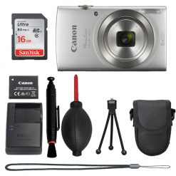 Canon PowerShot ELPH 180 (Silver) +16GB Card+Many Accessories Top Kit!