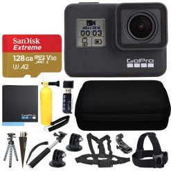 GoPro HERO7 Black Sports Action Camera + SanDisk 128GB Extreme UHS-I microSDXC Memory Card + Hard Case + Head Strap & Chest Strap + Spike Mount + Floating Handle + Monopod + Top Value Accessories!