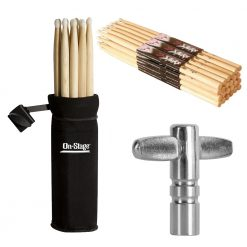 On Stage Hickory 2B Nylon Tip Drumsticks 12 Pairs + On Stage Clamp-On Drum Stick Holder + On Stage Chrome Plated Drum Tuning Key