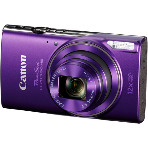 Canon PowerShot ELPH 360 HS Digital Camera (Purple) + Top Value Accessories!