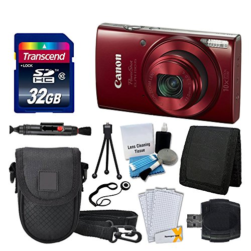 Canon PowerShot ELPH 190 IS Digital Camera (Red) Great Value Accessory Bundle