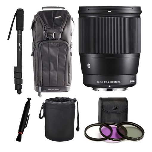 Sigma 16mm f/1.4 DC DN Contemporary Lens for Sony E – Top Value Accessory Bundle