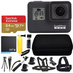 GoPro HERO7 Black Sports Action Camera + SanDisk 64GB Extreme UHS-I microSDXC Memory Card + Hard Case + Head Strap & Chest Strap + Spike Mount + Floating Handle + Monopod + Top Value Accessories!