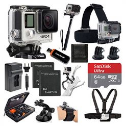 GoPro HERO4 SILVER Edition Camera HD Camcorder With Deluxe Carrying Case + Head Strap + Chest Strap + Suction Cup Mount + Wrist Strap Band +Monopod + 64GB SDXC MicroSD Memory Card Complete Deluxe Accessory Bundle