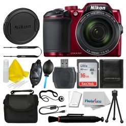Nikon COOLPIX B500 16MP Digital Camera (Red) + 16GB Deluxe Accessory Bundle!