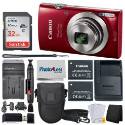Canon PowerShot ELPH 180 Digital Camera (Red) Bundle + Top Value Accessories!