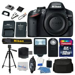 Nikon D3200 DSLR Camera Top Value Accessory Kit: Remote +Bag +Tripod +32GB +More