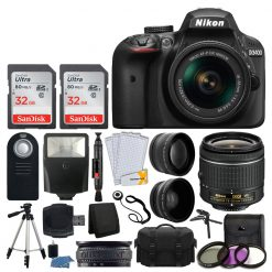 Nikon D3400 DSLR Camera 3 Lens Kit + AF-P 18-55 VR Lens + 64GB Best Value Bundle
