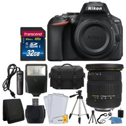 Nikon D5600 Digital SLR Camera + Sigma 17-50mm Lens + 32GB Card + Remote + Flash