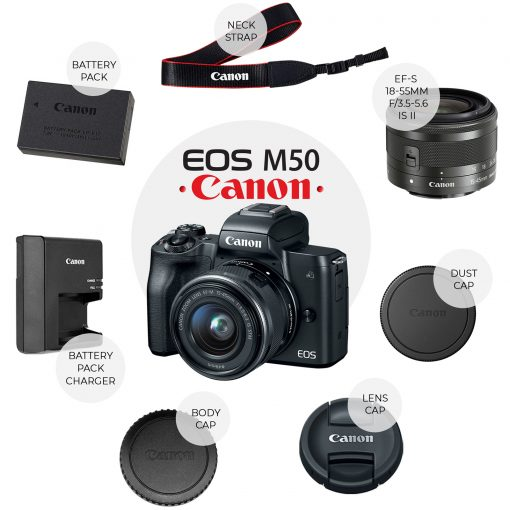 Canon EOS M50 Mirrorless Camera Kit + EF-M15-45mm Lens Bundle with Accessories!