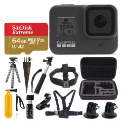 GoPro HERO8 Black Action Camera + SanDisk Extreme 64GB microSDXC Memory Card + More Top Value Accessories!
