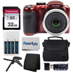 Kodak PIXPRO AZ252 Digital Camera (Red) Bundle + 32GB Memory Card + Accessories
