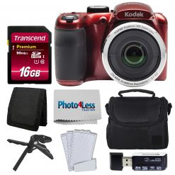 Kodak PIXPRO AZ252 Digital Camera (Red) Bundle + 16GB Memory Card + Accessories!