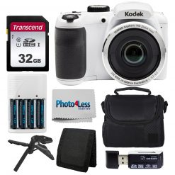 Kodak PIXPRO AZ252 Digital Camera (White) Kit + 32GB Memory Card + Accessories!