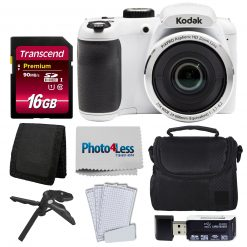 Kodak PIXPRO AZ252 Digital Camera (White) Kit + 16GB Memory Card + Accessories!