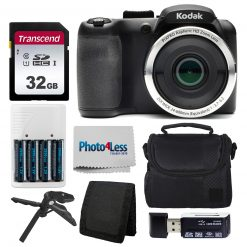 Kodak PIXPRO AZ252 Digital Camera (Black) Kit + 32GB Memory Card + Accessories