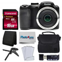 Kodak PIXPRO AZ252 Digital Camera (Black) + 16GB Memory Card + Accessories