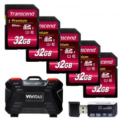 Transcend 32GB Premium Class 10 SDHC Memory Card (5-Pack) + Card Reader & Case!