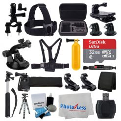 Deluxe Accessory Bundle for GoPro + Medium Case + 32GB Micro SD Card + Tripod
