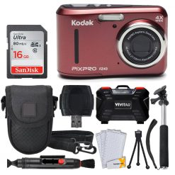 Kodak PIXPRO FZ43 Digital Camera (Red) + 16GB + Case + Monopod + Tripod + More