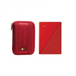 WD 4TB My Passport Portable External Hard Drive, Red +Case, Red