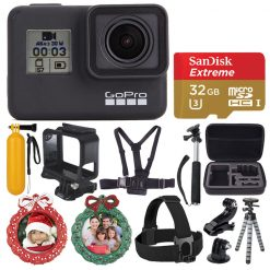 GoPro HERO7 Black Sports Action Camera Bundle + 32GB Card + Case + Wreath Frames