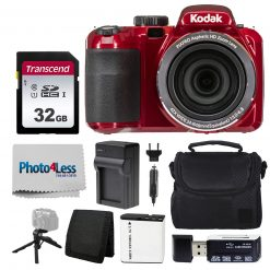 Kodak PIXPRO AZ421 Digital Camera (Red) Bundle with SD Card, Case, & More!