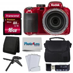 Kodak PIXPRO AZ421 Digital Camera (Red) Bundle + 16GB Memory SD Card + Case
