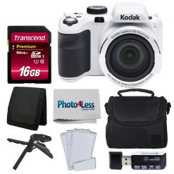 Kodak PIXPRO AZ421 Digital Camera (White) Bundle + 16GB Memory SD Card + Case