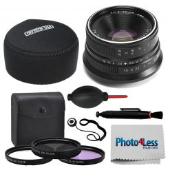 7artisans 25mm f/1.8 Lens for Fujifilm X (Black) + Case, Filters & Accessories