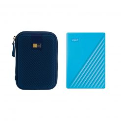 WD 4TB My Passport USB 3.2 Gen 1 External Hard Drive (2019, Sky) + Case (Blue)