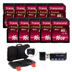 Transcend 16GB SDHC Class10 UHS-I 400X SD Memory Card (10-Pack) + Reader & Case!