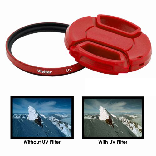 Vivitar 55mm UV Filter and Snap On Lens Cap – Red