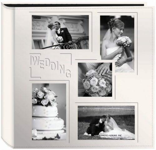 """Pioneer Collage Frame Embossed """"Wedding"""" Sewn Leatherette Cover Photo Album, Ivory"""