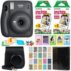 Fujifilm Instax Mini 11 Instant Camera - Charcoal Grey | 2 Twin Pack Film | Frames | Case | Album | Stickers - Complete Kit