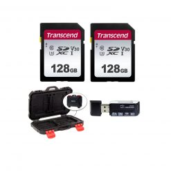 2 Transcend TS128GSDC300S UHS-I U3 SD Memory Cards, 128GB + Memory Card Case + Card Reader