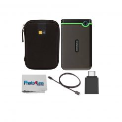 Transcend 1TB StoreJet 25M3 Anti-Shock External Hard Drive (Iron Gray) + Case + Adapter + Cable