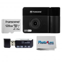 Transcend DrivePro 550 Dual Lens Dash Camera with 64GB microSD Card + Transcend 128GB microSDXC Memory Card with SD Adapter + Hi-Speed SD USB Card Reader