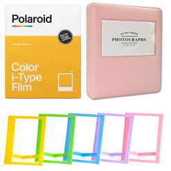 """Polaroid Color Film for I-Type (8 Exposures) + Phobea Leather 5"""" Photo Album for Wide Prints Holds 32 Prints- Pink + Plastic color frames"""