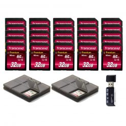 Transcend 32GB Premium Class 10 SDHC Memory Card (25-Pack) + Card Reader & Cases!
