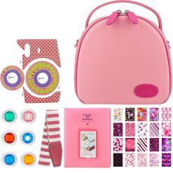 Xit Pink Round Case For Fuji Instax Mini Camera + Variety Of Pink Accessories- Sweet 16 Theme!